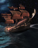 Pirate Ship. A pirate ship in trouble on a rough ocean at night vector illustration