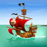 Pirate ship. Vector illustration. Stock Photo