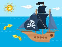 Pirate ship vector kids cartoon piracy backdrop with pirateboat or sailboat on seaside with island and palm illustration stock illustration