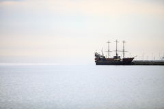 Pirate ship on the water of Baltic Sea Stock Image