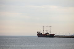 Pirate ship on the water of Baltic Sea Stock Images