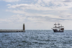 Pirate ship on the water of Baltic sea Stock Photography