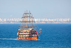 Pirate ship on the water of Mediteranean sea Royalty Free Stock Images
