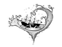 Ship in whirpool. Pirate ship in whirpool isolated on white background Stock Photography