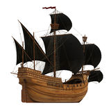Pirate Ship On White Background. 3D Model Stock Image