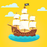 Pirate ship with white sails and black scull flag Royalty Free Stock Photos
