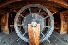 Pirate ship wood wheel detail Royalty Free Stock Image