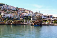 Pirate ships in Alanya royalty free stock images