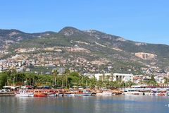 Pirate ships in Alanya royalty free stock photos