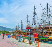 The pirate ships in Alanya port Stock Photo