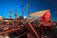 Pirate ships at the pier in Kaleichi Royalty Free Stock Images