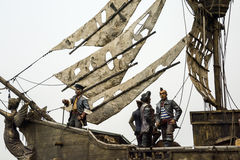Pirate ships and pirates. Scene model Stock Images