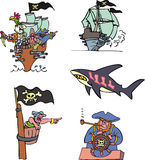 Pirate ships and sea Royalty Free Stock Images