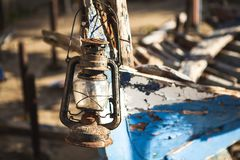 Pirate shipwreck with old oil lamp lantern stock photo