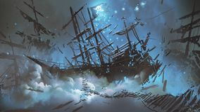 Pirate shipwreck in the sky Royalty Free Stock Images
