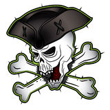 Pirate shouting evil skull with hat illustration Stock Photos