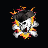 Pirate shouting evil skull with hat illustration Stock Photography