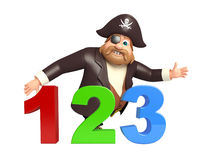 Pirate with 123 sign. 3d rendered illustration of Pirate with 123 sign Stock Images