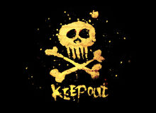 Pirate sign. Keep out!. Warning pirate sign keep out with skull & bones isolated on a black background Stock Image
