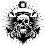 Pirate sign skull bandana with crossed old pistols and anchor Royalty Free Stock Photo