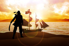 Pirate. Silhouette illustration of a pirate and a sailboat Stock Images