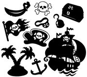 Pirate silhouettes collection vector illustration