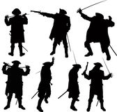 Pirate silhouettes. Seven silhouettes of pirate with sword and pistol in cardigan and hat Royalty Free Stock Photos