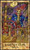 Pirate skeleton. Eight of cups. Stock Image
