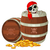 Pirate skeleton. Gets out of the barrel Royalty Free Stock Image