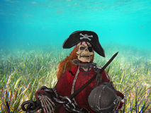 Pirate skeleton. A poor pirate skeleton underwater royalty free stock photography