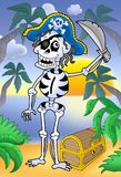 Pirate skeleton with sabre and treasure chest Stock Photos