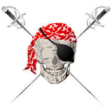 Pirate skull. Symbol against white background Stock Photography