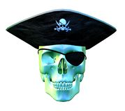 Pirate Skull - 2. Digital render of a pirate's skull with pirate hat and eye patch vector illustration