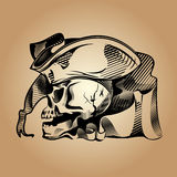 Pirate skull. Drawing a skull in a pirate hat Royalty Free Stock Photography