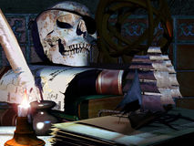 Pirate skull. An old fashioned table with a candle, with ancient books, an ancient spanish map and a skull with an eye patch over it Royalty Free Stock Photos