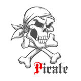 Pirate skull in bandana with crossbones sketch Royalty Free Stock Images