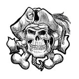 Pirate skull in a bandana and a hat with feathers. Stock Photography