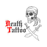 Pirate skull in bandana sketch and crossed swords Stock Image