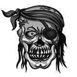 Pirate skull in bandanna without one eye Stock Photos