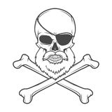 Pirate skull with beard, eye patch and crossed Stock Image