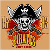 Pirate Skull in black hat with Cross Swords Royalty Free Stock Image