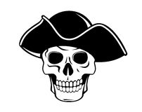 Pirate skull. In black hat for tattoo design Stock Photography