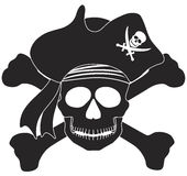 Pirate Skull Black White Illustration Stock Photos