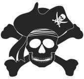 Pirate Skull Black White Illustration Stock Photos