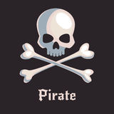 Pirate skull and bones sign. Cartoon skull and crossbones on a black background. Modern comic style vector illustration Royalty Free Stock Photo