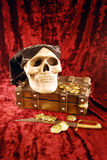 Pirate skull and booty. Pirate Skull with eye sockets and teeth with gold and other booty Stock Photography