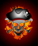 Pirate Skull Captain with Flames Background Stock Photography