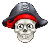 Cartoon Pirate Skull Cartoon. Pirate skull character with hat Royalty Free Stock Image
