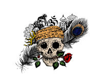 Pirate skull corsair logo - Head of men with rose peacock feathe. R temple for black magic design Royalty Free Stock Photography