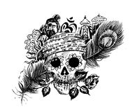 Pirate skull corsair logo - Head of men with rose peacock feather. Temple for black magic design Royalty Free Stock Photography